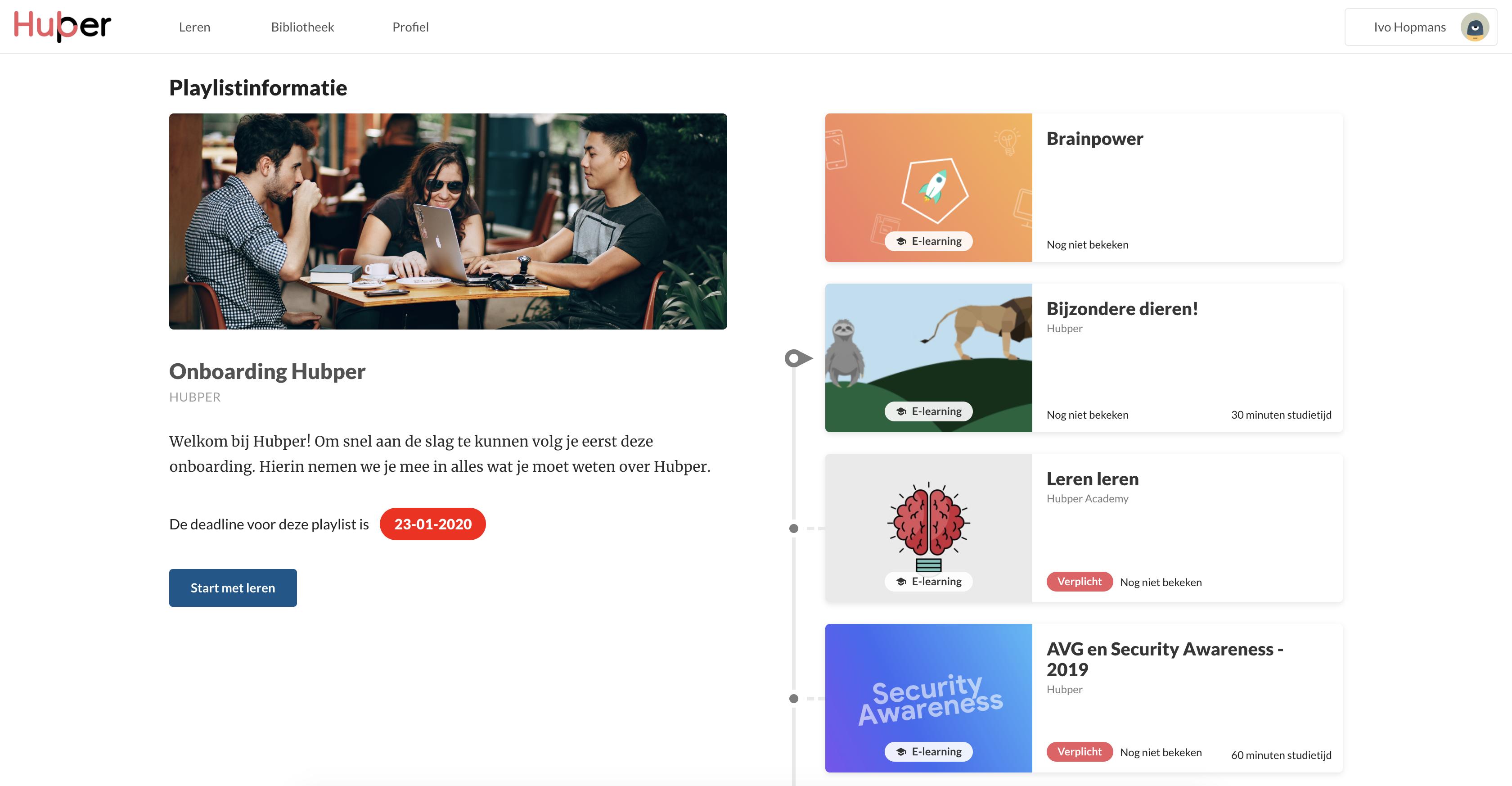 Learning playlist Hubper online leerplatform